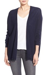 Women's Velvet By Graham And Spencer Sheer Cashmere Fringe Cardigan Ink Navy