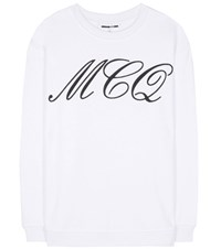 Mcq By Alexander Mcqueen Printed Cotton Sweater White