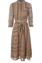 Alice And You High Neck Chiffon Midi Dress Brown