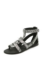 Joe's Jeans Ranger Flat Sandals Black White