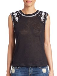 Generation Love Marseille Embroidered Linen Tank Black