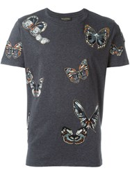 Valentino Embroidered Butterfly Design T Shirt Grey
