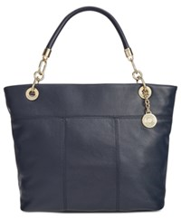 Tommy Hilfiger Pebble Leather Top Zip Tote Navy