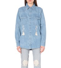 Bliss And Mischief Conjure Embroidered Denim Shirt Ivory