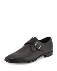Charles Jourdan Jean Monk Strap Leather Loafer Black
