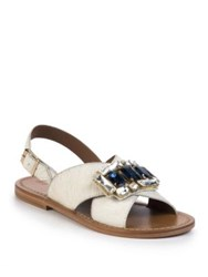 Marni Jeweled Calf Hair Crisscross Flat Sandals White