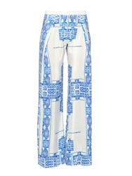 Zeus Dione Alcestes Wide Leg Printed Silk Trousers