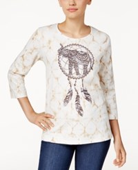 Alfred Dunner Printed Elephant Graphic Top Multi