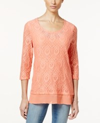 Jm Collection Embellished Crochet Lace Chiffon Trim Tunic Top Only At Macy's