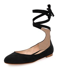 Gianvito Rossi Suede Ankle Wrap Ballerina Flat Black Size 41.0B 11.0B