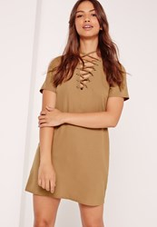 Missguided Lace Up Front Shift Dress Camel Tan