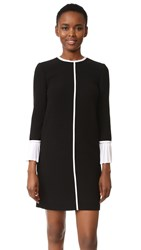 Victoria Beckham Pleat Cuff Shift Dress Black Optic White