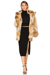Cinq A Sept Windsor Fox Fur Coat Tan