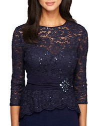 Alex Evenings Embellished Waist Lace Blouse Navy