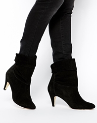 Ganni Koko Fold Over Heeled Ankle Boots Black