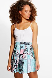Boohoo Floral Print Box Pleat Skater Skirt Multi