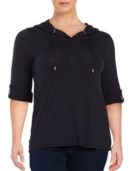 Michael Michael Kors Plus Mesh Accented Knit Top New Navy