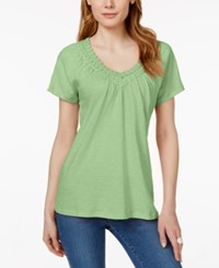 Jm Collection Crochet Trim V Neck Tee Only At Macy's Waterfall Mint