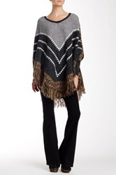 Fate Allover Print Long Sleeve Illusion Poncho Multi