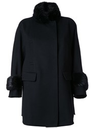 Ermanno Scervino Fur Collar And Cuffs Coat Black