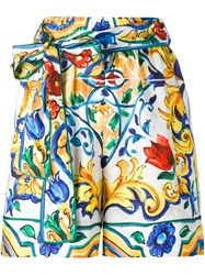 Dolce And Gabbana Majolica Print Belted Shorts Multicolour