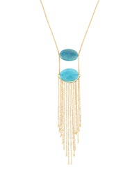 Panacea Long Fringe Necklace W Agate Stones