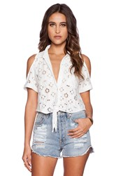 Nightcap Aztec Cold Shoulder Top White