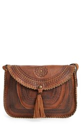Patricia Nash 'Beaumont' Distressed Vintage Leather Crossbody Bag Brown Cognac