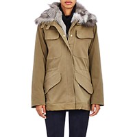 Barneys New York Women's Sueded Canvas Jacket With Fur Vest And Collar Green