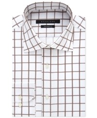 Sean John Men's Classic Fit Camel Grid Pattern Dress Shirt