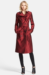 Burberry 'Brackenhill' Belted Double Breasted Trench Coat Military Red