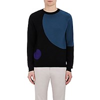 Paul Smith Ps By Men's Geometric Crewneck Sweater Black Blue Black Blue