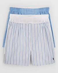 Polo Ralph Lauren Woven Boxer Shorts Pack Of 3 White Stripe Plaid