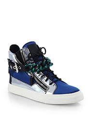 Giuseppe Zanotti Metallic Leather And Satin Chain High Top Sneakers Bluette