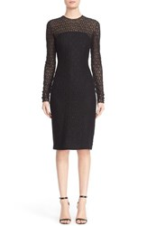 Carmen Marc Valvo Women's Embellished Illusion Lace Knit Sheath Dress