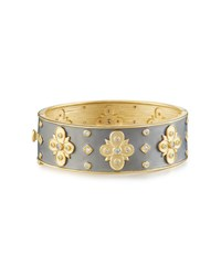 Freida Rothman Embellished Clover Hinged Bangle Bracelet No Color