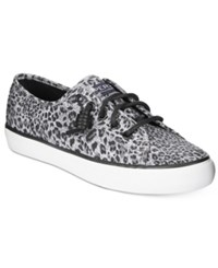 Sperry Women's Seacoast Canvas Sneakers Women's Shoes Black Cheetah