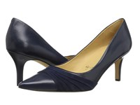 Trotters Alexandra Navy Glazed Kid Leather Kid Suede Women's 1 2 Inch Heel Shoes Black