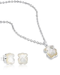 Tous Sterling Silver Teddy Bear Necklace And Earrings Set White