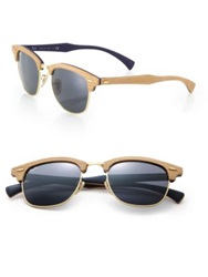 Ray Ban Wooden 51Mm Square Sunglasses Light Brown