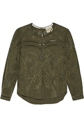 Sea Broderie Anglaise Voile Top Army Green