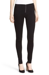 Alice Olivia Women's Front Zip Suede Leggings
