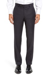 Ted Baker Men's London Jefferson Flat Front Check Wool Trousers Grey Grey