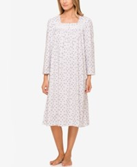 Eileen West Lace Trimmed Printed Nightgown Dot Rose