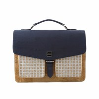 Le Suri Tricolour Cork Satchel Bag Blue Silver Brown