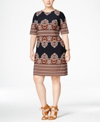 Inc International Concepts Plus Size Printed Shift Dress Only At Macy's Deep Twilight