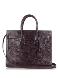 Saint Laurent Sac De Jour Small Crocodile Effect Leather Tote Dark Purple