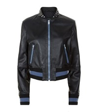 Pinko Studded Leather Bomber Jacket Female Blue