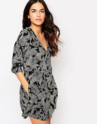 Hazel Paisley Print Dress Black
