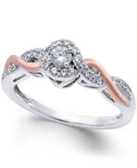 No Vendor Diamond Twist Promise Ring 1 5 Ct. T.W. In Sterling Silver And 14K Rose Gold